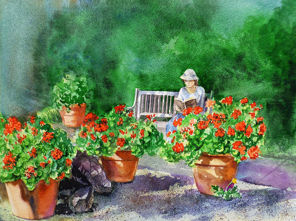 Painting - Quiet Moment Reading In The Garden by Irina Sztukowski