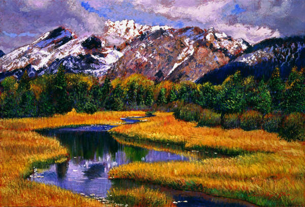 Mountain Lake Painting - Quiet River by David Lloyd Glover