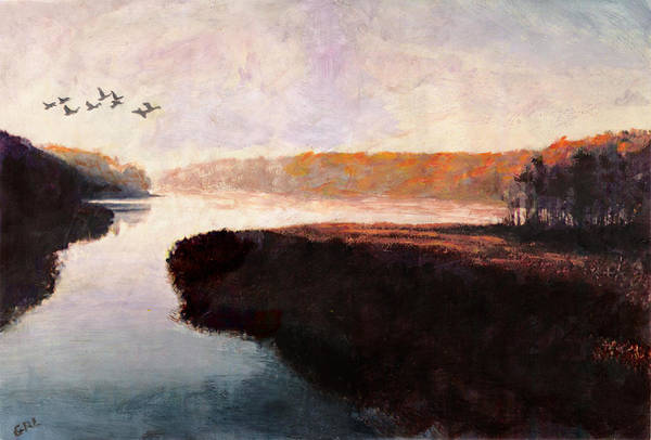 Painting - Quiet River Maryland Landscape Fall Color Multimedia Fine Art Painting by G Linsenmayer