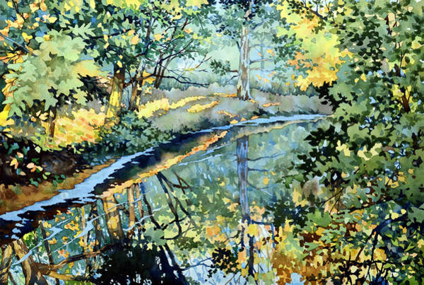 Waterway Painting - Quiet Stream Near Milk House by Mick Williams