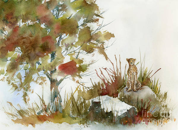 Cheetah Painting - Quiet Watch by Amy Kirkpatrick