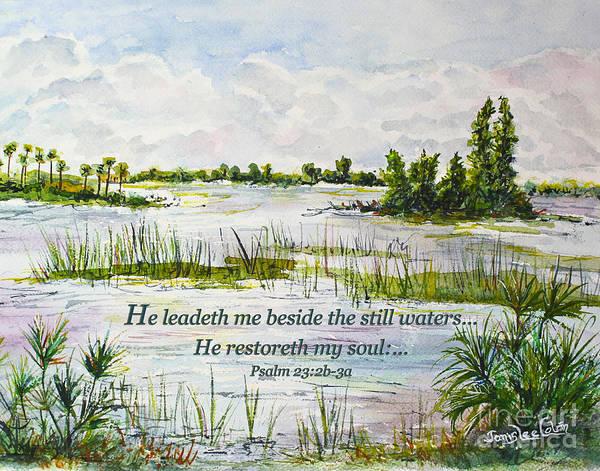 Digital Art - Quiet Waters Psalm 23 by Janis Lee Colon