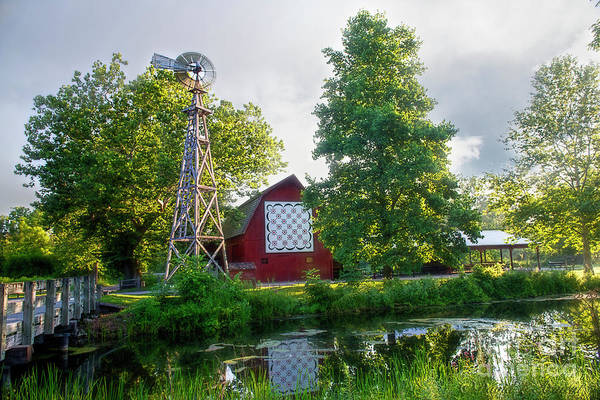 Quilt Barn And Windmill At Bonneyville Mill Art Print