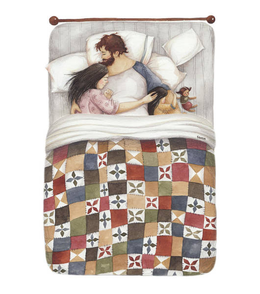 Girlfriend Painting - Quilt Cuddles by Soosh