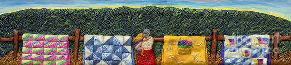Fence Mixed Media - Quilted Harvest by Anne Klar