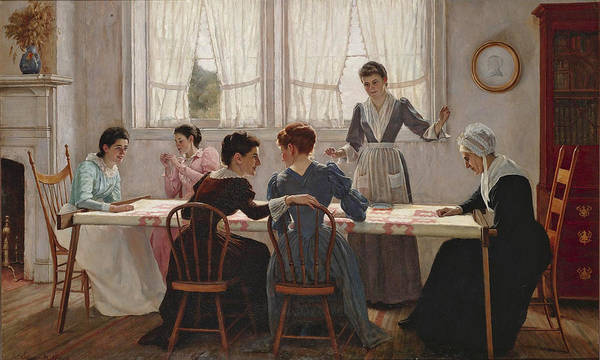 Ward Painting - Quilting Party  by Edgar Melville Ward