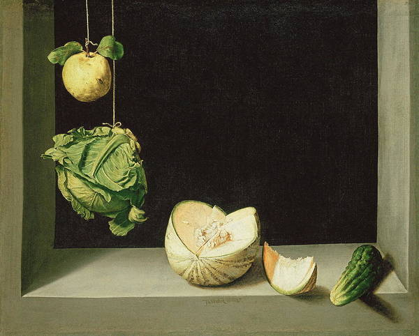 Wall Art - Painting - Quince, Cabbage, Melon, And Cucumber by Juan Sanchez Cotan