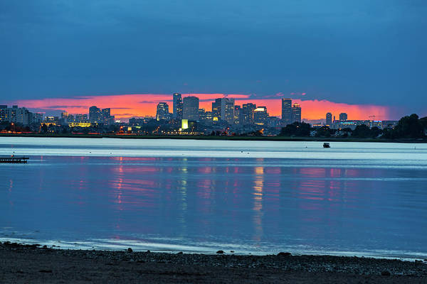 Photograph - Quincy Ma Red Sunset Behind The Boston Skyline Wollaston Beach by Toby McGuire