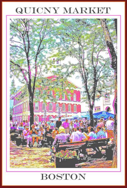 Quincy Market, Boston Massachusetts, Poster Image Art Print