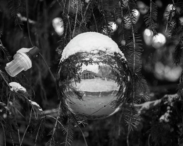Photograph - Quincy Market Reflected In A Christmas Ornament Boston Ma Black And White by Toby McGuire