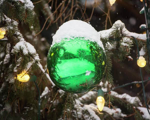 Photograph - Quincy Market Reflected In A Christmas Ornament Boston Ma Green by Toby McGuire