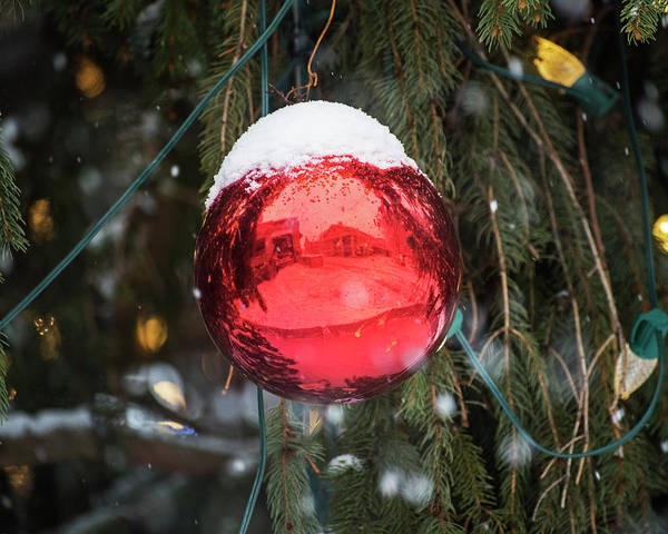 Photograph - Quincy Market Reflected In A Christmas Ornament Boston Ma Red by Toby McGuire