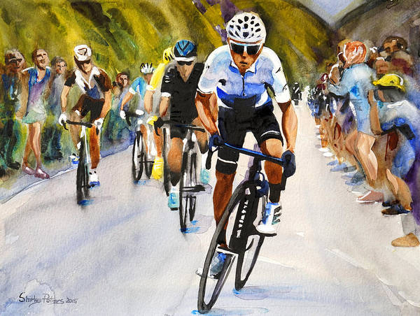 Le Tour De France Wall Art - Painting - Quintana In White by Shirley Peters