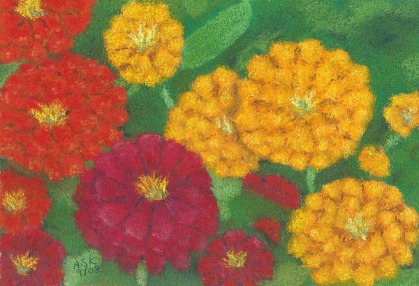 Pastel - Quintet Hot Zinnias by Anne Katzeff