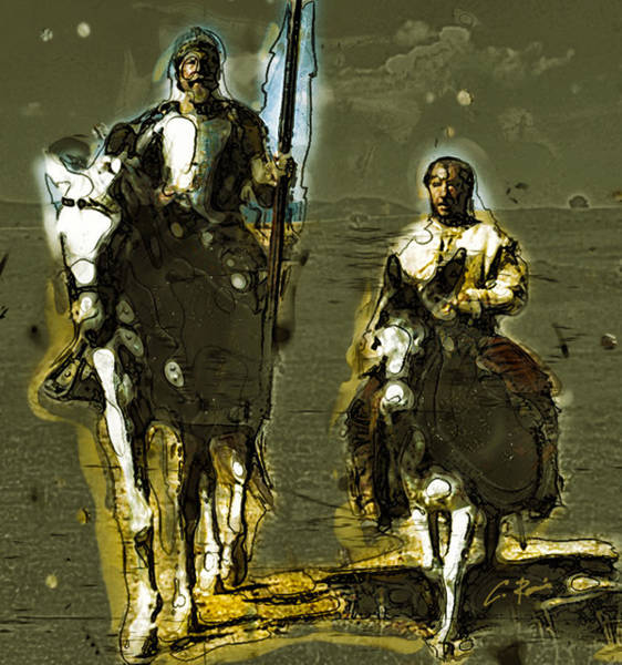Digital Art - Quixote And Sancho by Charlie Roman