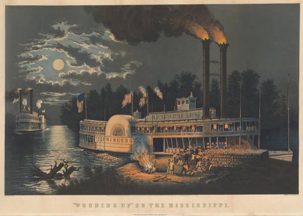 Mississippi River Drawing - Wooding Up by Frances Flora Bond Palmer