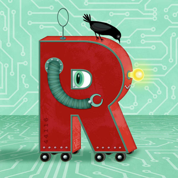 Digital Art - R Is For Robot by Valerie Drake Lesiak