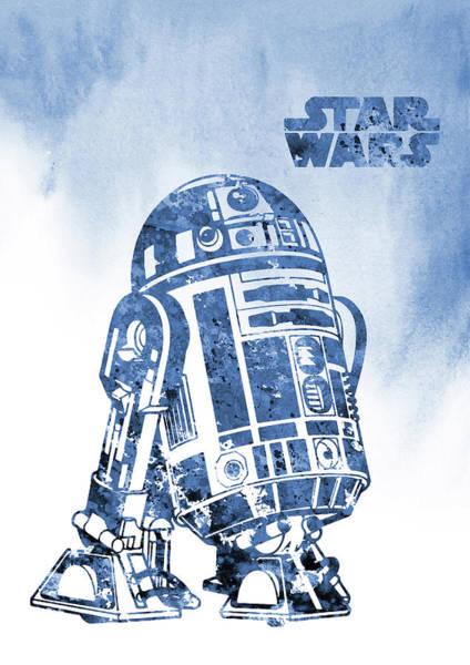 Star Wars Wall Art - Digital Art -  R2-d2-blue by Erzebet S