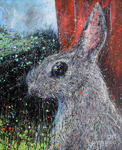 Pale Blue Dot Wall Art - Painting - Rabbit And Barn by Michael Glass