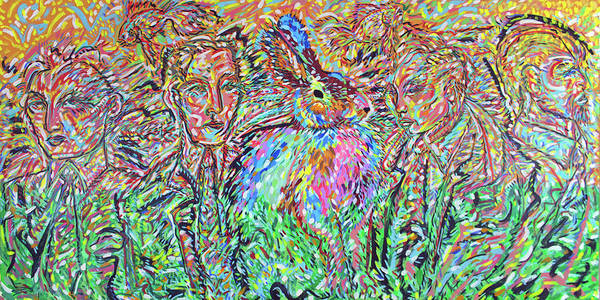 Ranchera Wall Art - Painting - Rabbit Committee by Jimmy Longoria