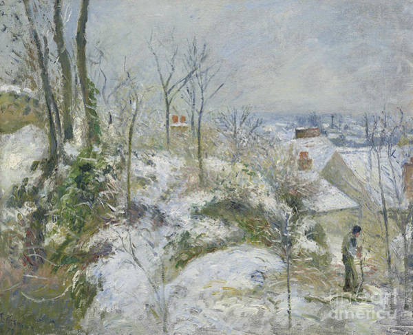 Wall Art - Painting - Rabbit Warren At Pontoise, Snow, 1879 by Camille Pissarro