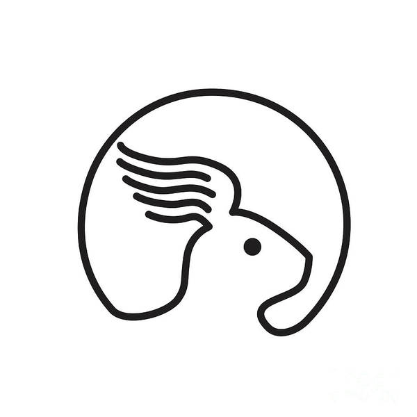 Haring Digital Art - Rabbit Wing Ear Side Retro by Aloysius Patrimonio