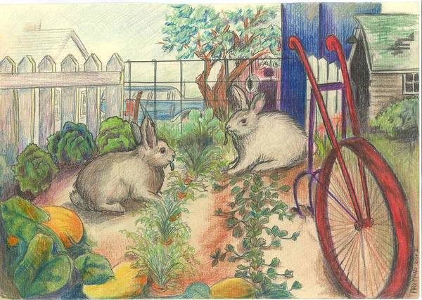 Homestead Drawing - Rabbits In The Garden by April Mains