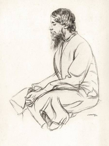 Wall Art - Drawing - Rabindranath Tagore 1861 To 1941 Indian by Vintage Design Pics