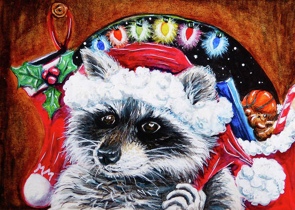 Painting - Racccoon Santa Claus by Monique Morin Matson