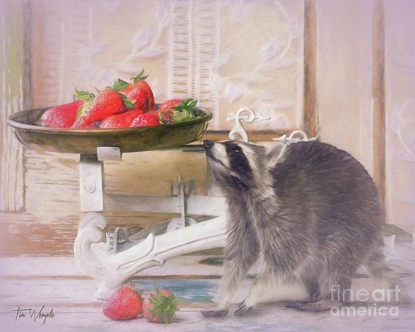 Digital Art - Raccoon And Strawberries by Tim Wemple