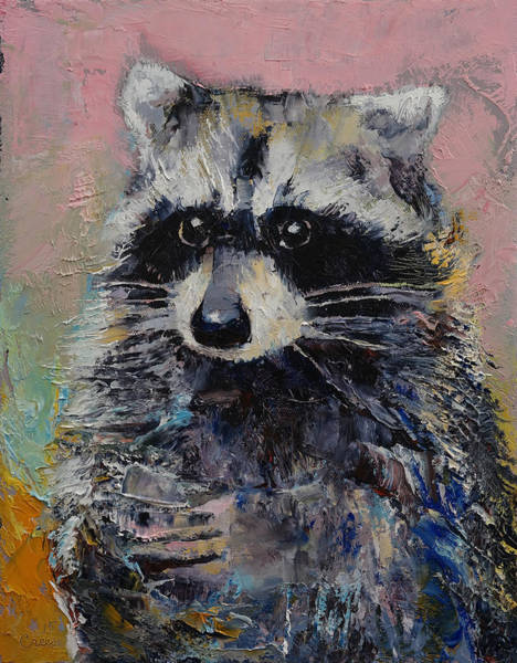 3d Painting - Raccoon by Michael Creese