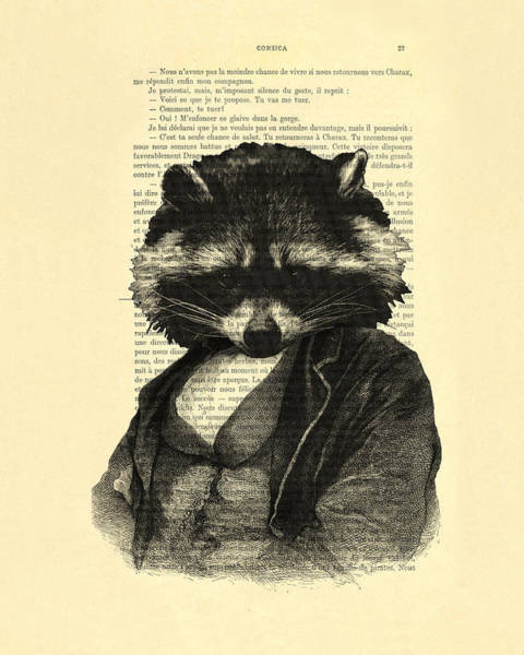 Wall Art - Digital Art - Raccoon Portrait, Animals In Clothes by Madame Memento