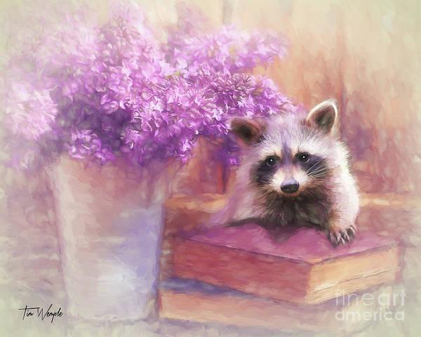 Digital Art - Raccoon Reader by Tim Wemple
