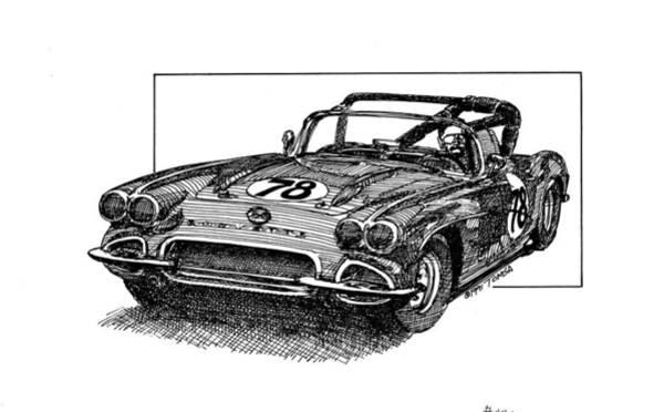 American Car Drawing - Race 78 by Bill Tomsa