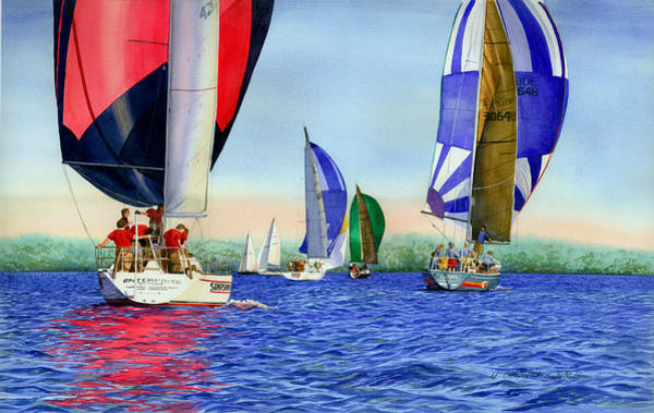 Spinnaker Wall Art - Painting - Race Night Colors by Marguerite Chadwick-Juner