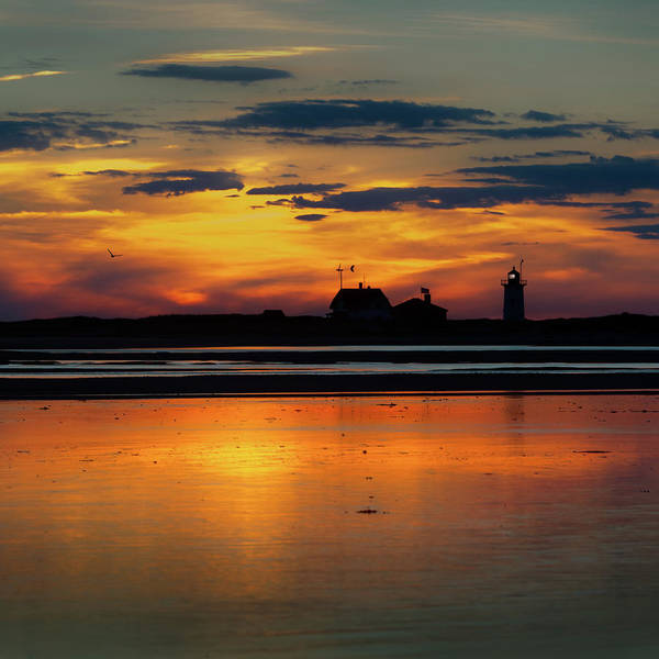 Wall Art - Photograph - Race Point Light Sunset 2018 Square by Bill Wakeley