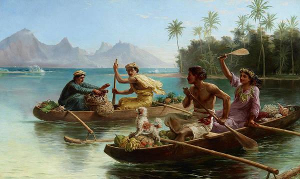 Painting - Race To The Market, Tahiti  by Nicholas Chevalier