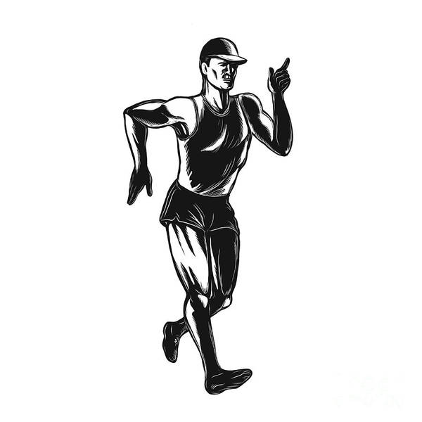 Scratchboard Wall Art - Digital Art - Race Walking Side Scratchboard  by Aloysius Patrimonio