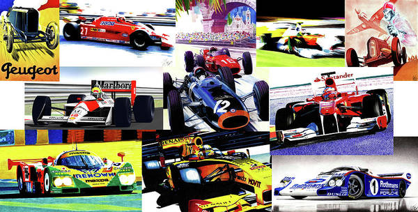 Wall Art - Mixed Media - Racing Collage by Lyle Brown