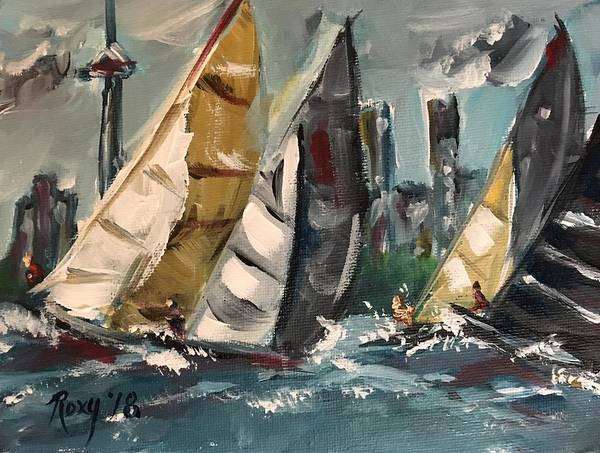 Transportation Painting - Racing Day by Roxy Rich