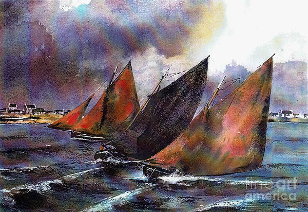 Painting - Racing Hookers Off Aran by Val Byrne