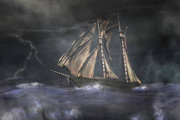 Schooner Digital Art - Racing The Storm by Carol and Mike Werner