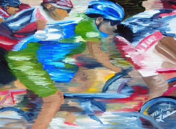 Bike Racing Painting - Racing The Wind by Michael Lee