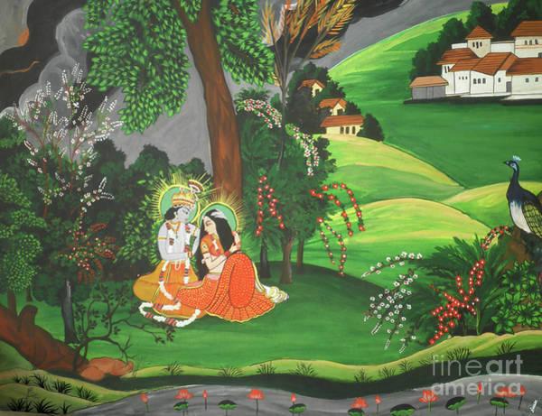 Hindu Goddess Wall Art - Painting - Radha Krishna  by Artist Nandika  Dutt