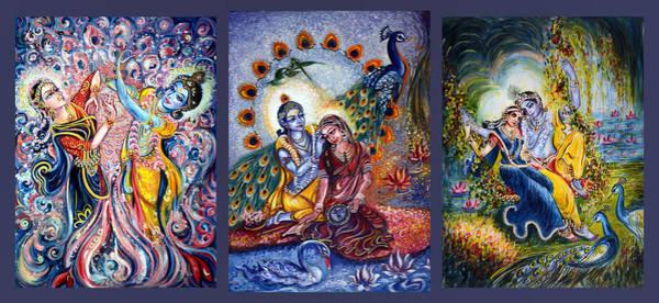 Hindu Goddess Wall Art - Painting - Radha Krishna Cosmic Leela by Harsh Malik