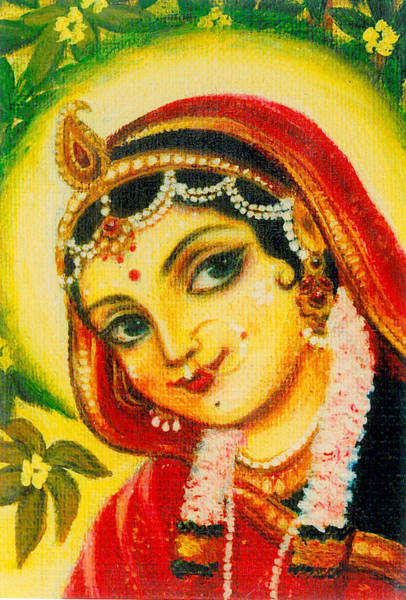 Wall Art - Painting - Radha - The Indian Love Goddess by Alexandra Bilbija