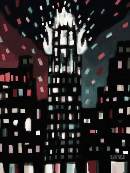 Urban Scene Painting - Radiator Building Night by Beverly Brown