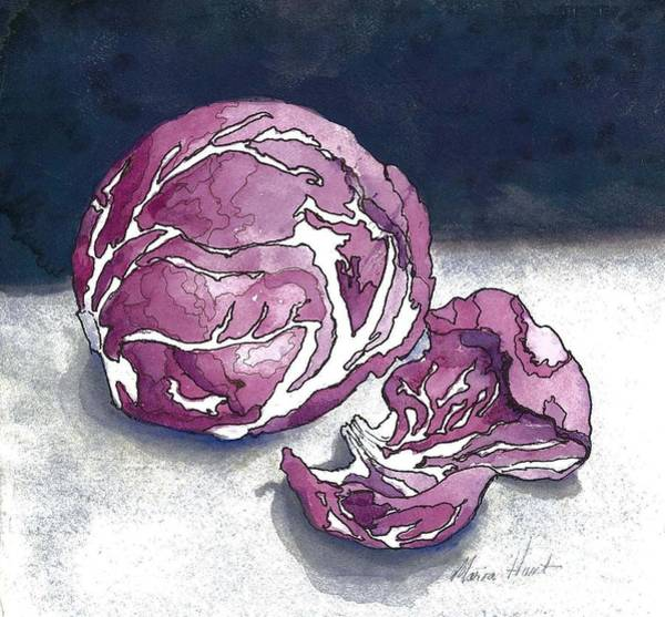 Wall Art - Painting - Radicchio After Dark by Maria Hunt