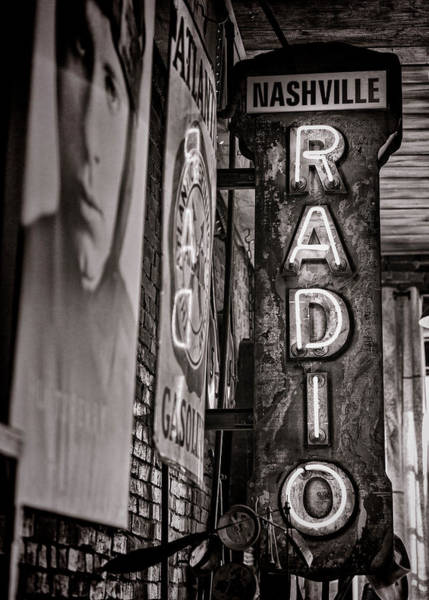 Wall Art - Photograph - Radio Nashville - Monochrome by Stephen Stookey