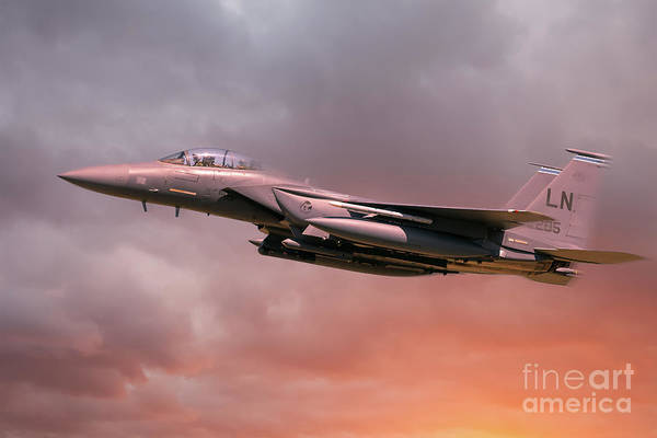 Flyby Photograph - Raf Lakenheath F-15 Eagle In Flight With Orange Sun Light by Simon Bratt Photography LRPS